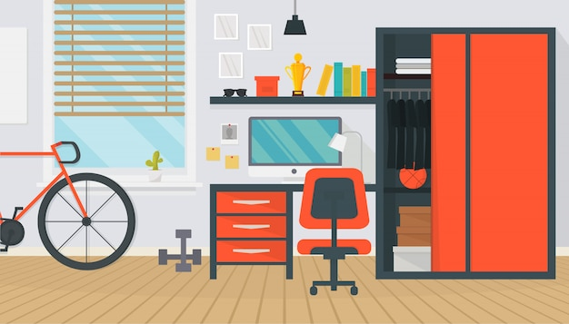 Modernos muebles de sala adolescente interior. espacio de trabajo cómodo