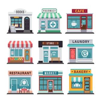 Modernos restaurantes de comida rápida y edificios de tiendas.