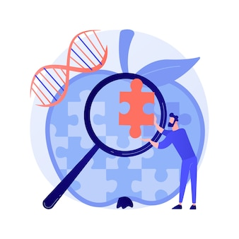 Modificación del genoma, alteración de la secuencia del adn. ciencia futura, estudio de biotecnología, elemento de diseño de idea de bioingeniería. análisis de estructura genética. ilustración de metáfora de concepto aislado de vector