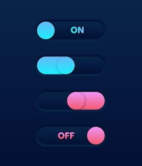 Modo oscuro encendido apagado interruptor deslizante. elementos de la interfaz de usuario web