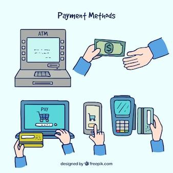 Modos de pago con estilo de dibujo a mano