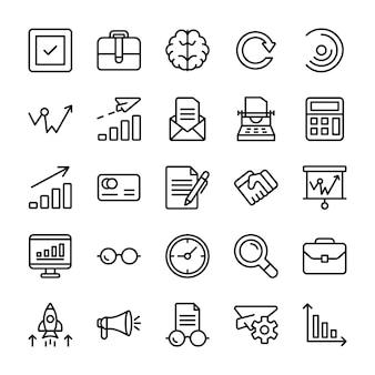 Módulo, lanzamiento de producto, iconos de línea de presentación