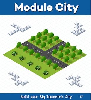 Módulo urbano para la construcción y diseño de gran ciudad isométrica.