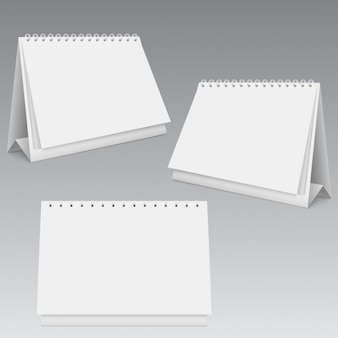 Mofa de calendario en blanco diferentes puntos de vista.