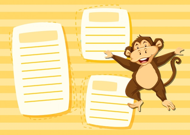 Mokey en plantilla de nota