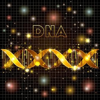 Molécula de adn en línea patrón de oro