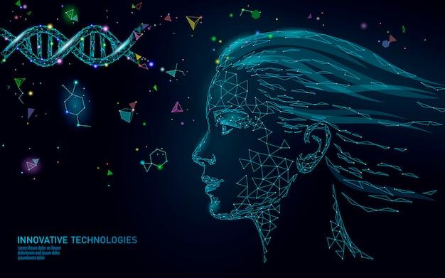 Molécula de adn tratamiento esencia cosmética 3d. bajo poli rostro femenino poligonal cuidado de la belleza médica.