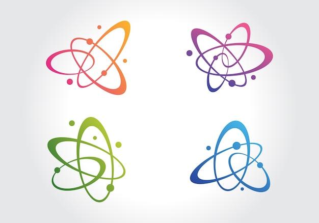 Molécula de átomo abstracto en icono de movimiento