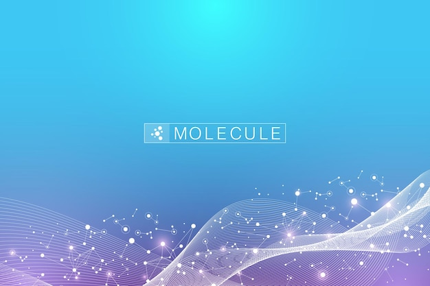 Molécula de cadena de adn o estructura de átomo