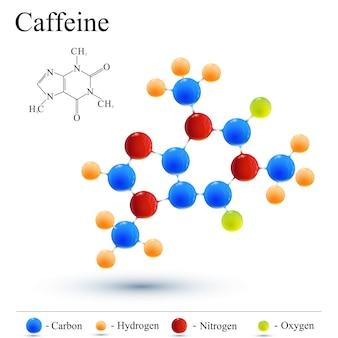Molécula de cafeína y café. icono de logotipo moderno.