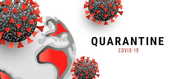 Molécula de coronavirus con globo terráqueo sobre fondo blanco