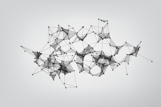 Molécula de fondo geométrico y comunicación. concepto de ciencia, química, biología, medicina. tecnología de fondo que conecta puntos y líneas.