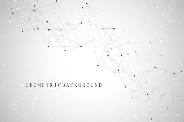 Molécula de fondo gráfico geométrico y comunicación. líneas conectadas con puntos. fondo de ilustración caótica de minimalismo. concepto de ciencia, química, biología, medicina, tecnología, vector