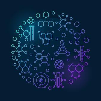 Molécula redonda iconos de contorno colorido