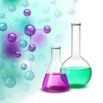 Molécula y vasos de composición colorida