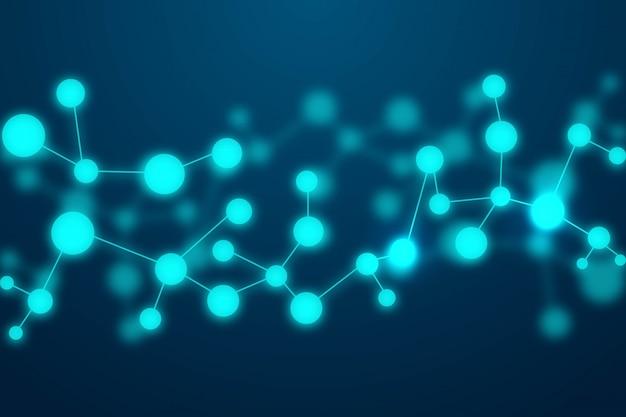 Moléculas abstractas fondo azul