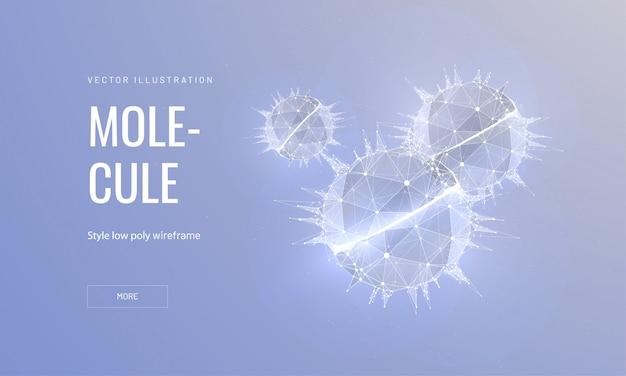 Moléculas en estilo de trama poligonal