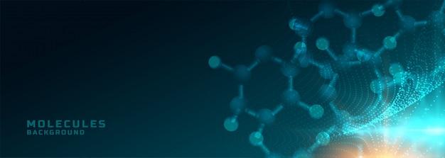 Moléculas estructura ciencia médica y salud fondo bandera