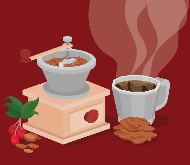 Molinillo de café taza frijoles bayas y hojas diseño de bebida cafeína desayuno y tema de bebidas.