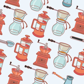 Molino de café, cafetera de géiser y taza, patrón transparente de vector