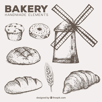 Molino y elementos de panadería hechos a mano