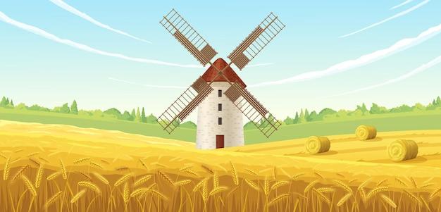 Molino de granja en una ilustración de campo de trigo