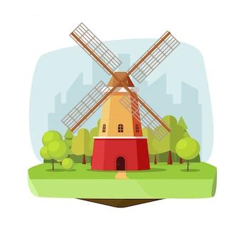 Molino de viento o granja de molinos en ilustración de vector de paisaje de bosque de naturaleza en estilo de dibujos animados plana
