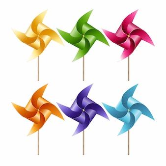 Molino de viento de papel colorido seis de conjunto aislado sobre fondo blanco