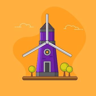 Molino de viento vintage púrpura aislado en naranja