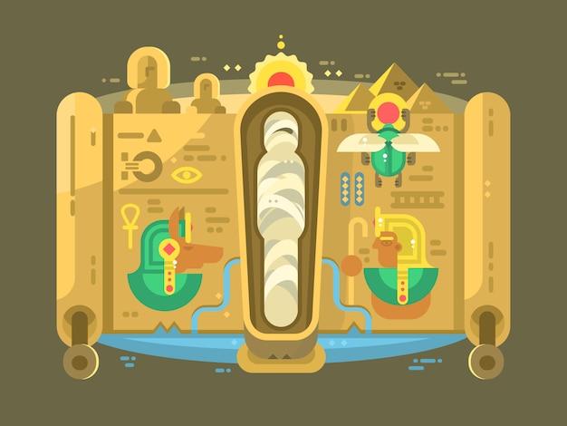 Momia en un diseño plano de sarcófago