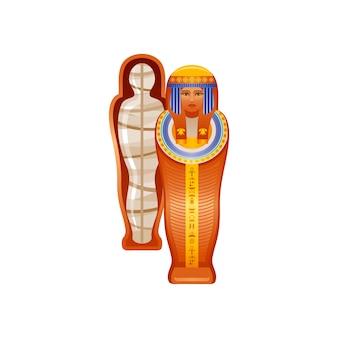 Momia egipcia antigua en icono de sarcófago. cuerpo de mujer muerta después de la momificación, símbolo del más allá. reina momia y tumba, ilustración de dibujos animados. arte antiguo de egipto.