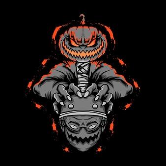 Momia de halloween sosteniendo la cabeza