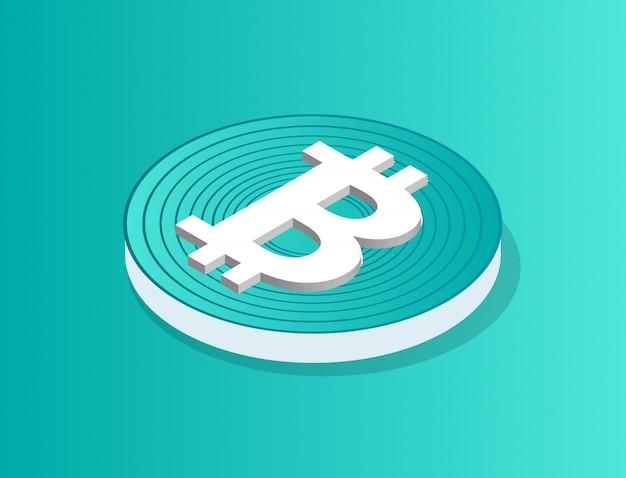Moneda bitcoin aislado ilustración vectorial 3d