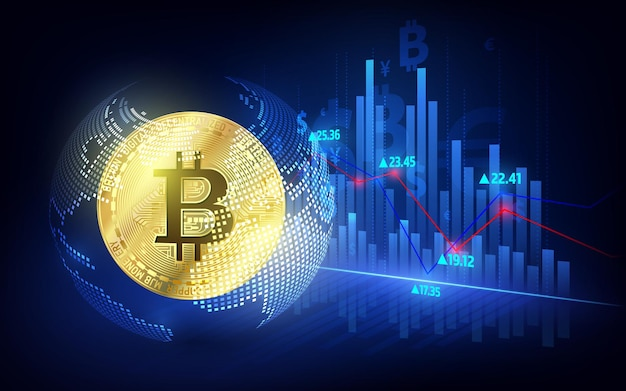 Moneda bitcoin. moneda criptográfica con tabla de crecimiento. bolsa de valores internacional. banner de vector de marketing de red bitcoin.