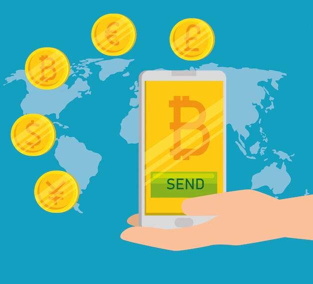 Moneda de bitcoin en el teléfono inteligente