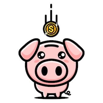 La moneda cayó en la linda alcancía del cerdo.