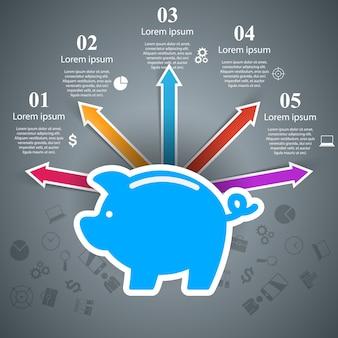 Moneda de cerdo icono de marketing de infografía de negocios