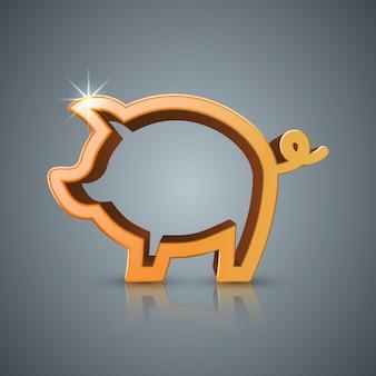 Moneda de cerdo. infografía de negocios
