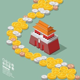 Moneda de china yuan de dinero con diagrama isométrico de la plaza de tiananmen