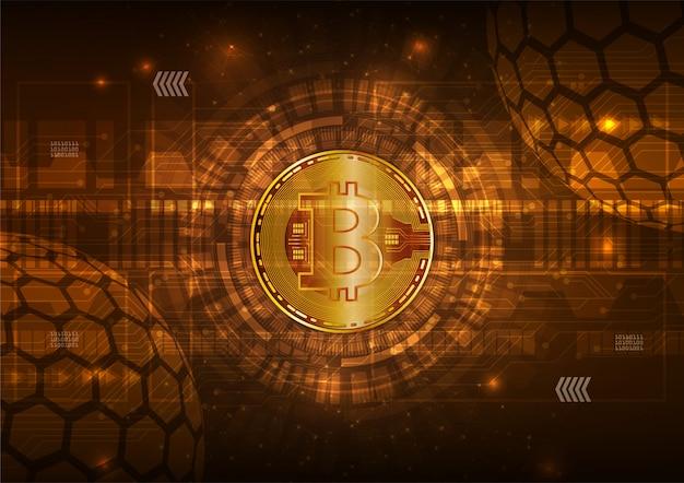 Moneda digital bitcoin con circuito abstracto vector