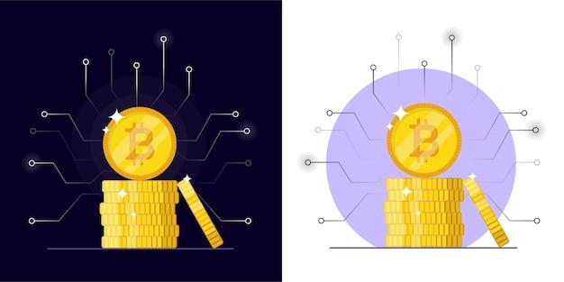 Moneda digital bitcoin. criptomoneda para realizar inversiones en línea para bitcoin y blockchain. ilustración