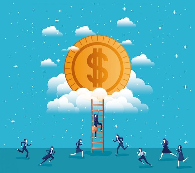 Moneda de dinero con el equipo de mujeres empresarias
