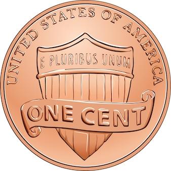 Moneda de dinero estadounidense un centavo, centavo