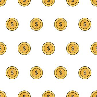 Moneda de dinero de patrones sin fisuras. ilustración de tema de monedas de oro