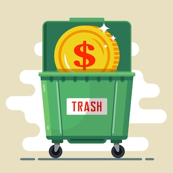 Moneda dólar en el contenedor de basura