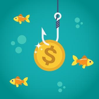 Moneda de dólar en gancho de pesca