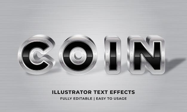 Moneda - efecto de texto 3d metálico plateado