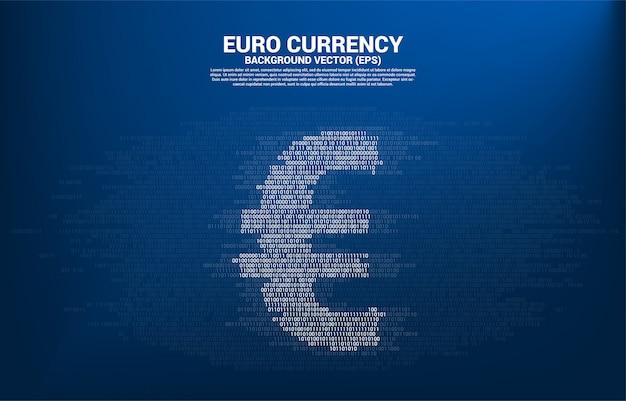 Moneda del euro del dinero de printvector con uno y cero estilo de la matriz del dígito del código binario. concepto de dinero electrónico y banca digital.