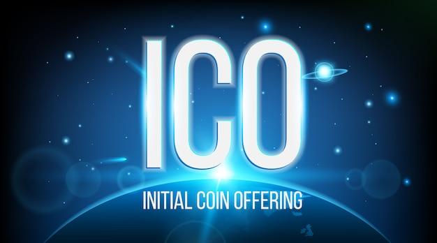 Moneda inicial del ico ofreciendo blockchain.