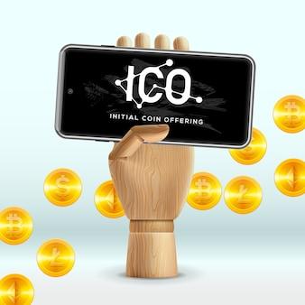 Moneda inicial de ico que ofrece concepto de tecnología de internet empresarial en una pantalla de dispositivo smartphone, ilustración.
